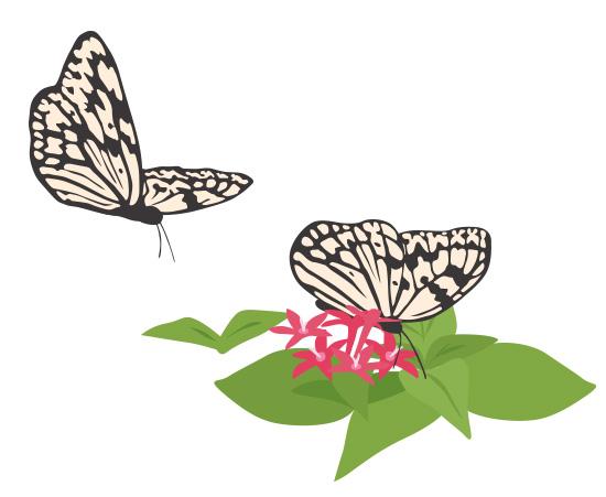 蝶1 ガーリー素材 ふんわり可愛い無料イラスト素材