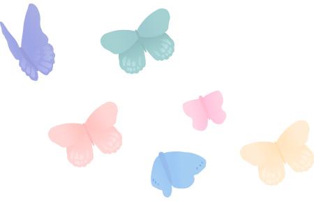 蝶2 ガーリー素材 ふんわり可愛い無料イラスト素材