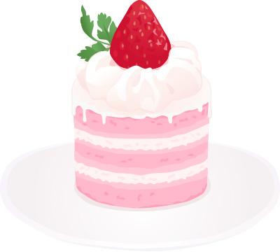 いちごのケーキ ガーリー素材 ふんわり可愛い無料イラスト素材 ふんわり可愛い無料イラスト素材