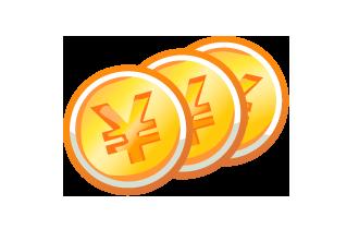 お金コイン ガーリー素材 ふんわり可愛い無料イラスト素材