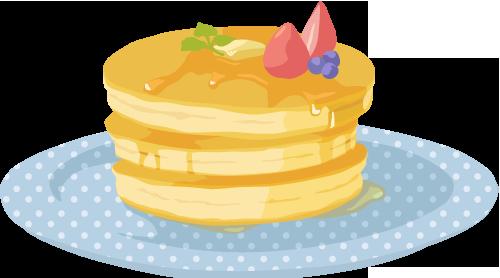 パンケーキ ガーリー素材 ふんわり可愛い無料イラスト素材